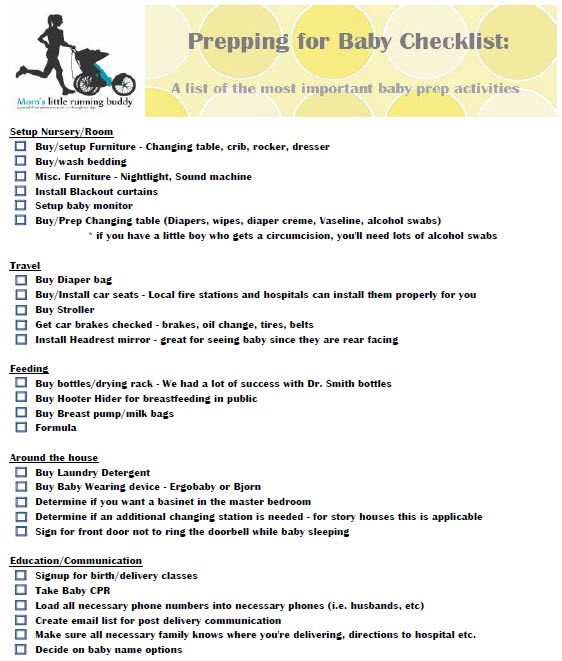 preparing for baby checklist printable moms little running buddy
