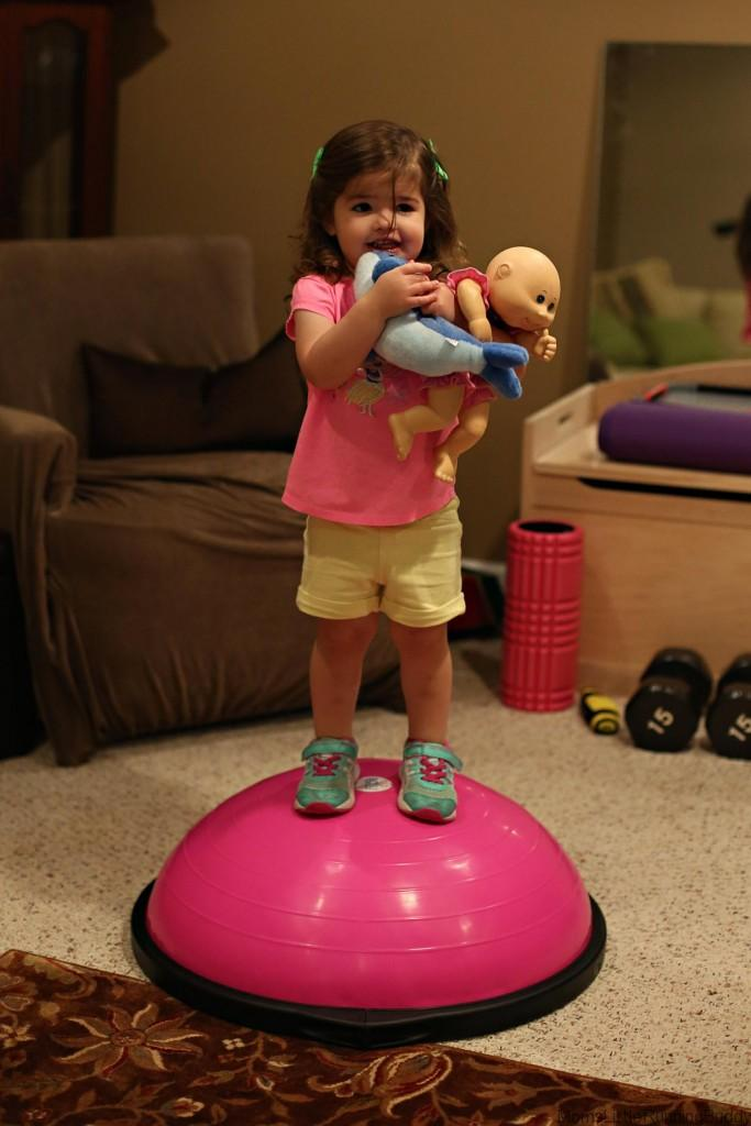 MiniE worked on her balance too!